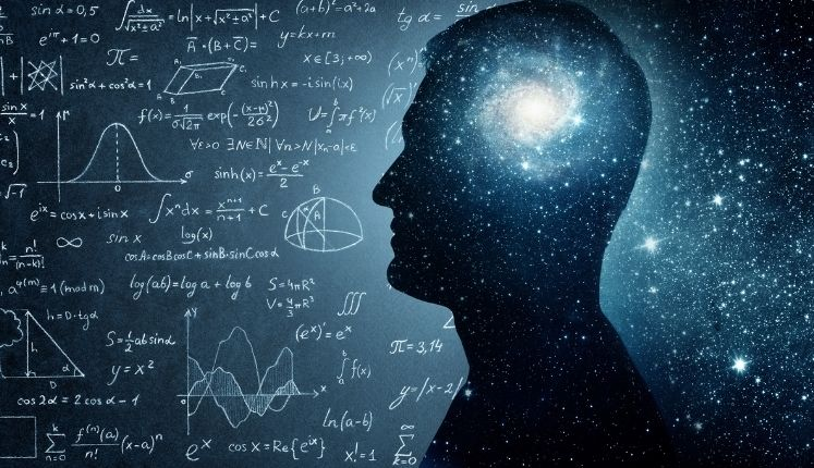 picture of the cosmos and math inside a persons mind